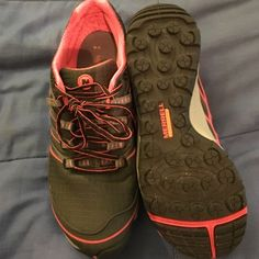 Merrell running shoes Merrell black and pink running shoes. Worn a few times. Very comfie! Thanks for looking! Merrell Shoes Athletic Shoes