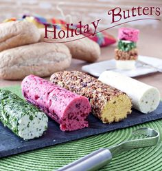 Homemade Holiday Butters – Four uniquely flavored butters that are perfect for the holiday table! Scarborough Butter (Before serving, mince additional parsley & roll the butter in it to coat), Spiced Cranberry Butter, Candied Pumpkin Pecan Butter (Before serving, spread nuts on a plate or board & roll the butter in the nuts to coat), & Roasted Garlic Butter!