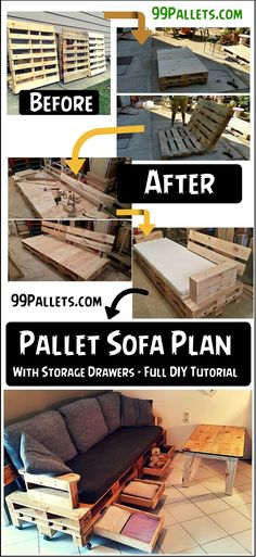 Pallet #Sofa Plan With Drawers - DIY Tutorial | 99 #Pallets - #palletsofa