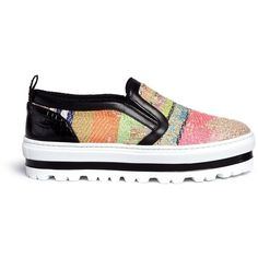 Msgm Textured stripe flatform slip-ons (1.775 RON) ❤ liked on Polyvore featuring shoes, pull on shoes, striped shoes, colorful shoes, multi colored shoes and multi color shoes