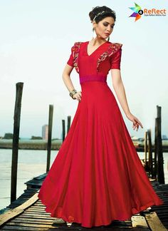 a6961d12eb6e7 PROMINENT RED SATIN SILK READYMADE GOWN Party Wear Gowns Online