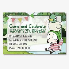 Sarah and Duck Personalised Children's Birthday Party Invitation card x12
