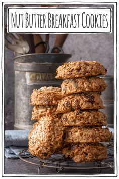 These incredible tasting nut butter breakfast cookies are gluten free, vegan, low in sugar and nutritious. Slightly crisp on the outside and chewy on the inside. Who say's you can't have cookies for breakfast! Quick and easy to mix, drop and bake for 20 minutes, you'll fall in love with breakfast.