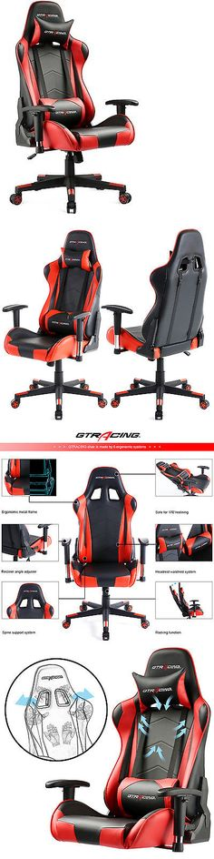 Office Furniture: Gt Racing Executive Gaming Chair Leather High Back Recliner Office Chair Red Us -> BUY IT NOW ONLY: $149.99 on eBay!
