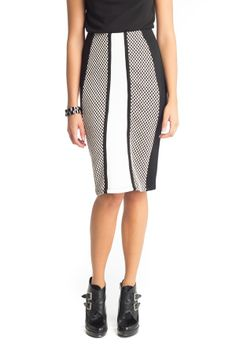 Two Tone Knitted Pencil Skirt