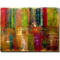 Bring the glory of fall, the wet mystery of a neon-lit rainy night, with a piece of colorful abstract canvas art. Created by Michelle Calkins, this large panel of color measures 18' x 24', which makes it perfect for a large and empty space.