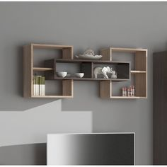 Mercury Row The French Wall Shelf is an excellent solution for a living room as well as the guest room. The system is a combination of modernity and practicality. Unique Wall Shelves, Wooden Wall Shelves, Floating Wall Shelves, Modern Shelving, Wall Shelves Design, Decorative Wall Shelves, Corner Shelf Design, Wall Shelf Unit, Corner Wall Shelves