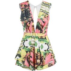 Posh Girl Vintage Tropical Print Romper