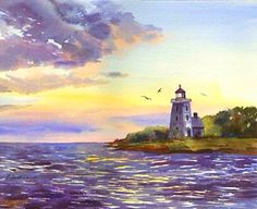 Lighthouse Above The Cove~ Elaine Ferdinandi~ Watercolour