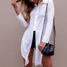 2017 Fashoin Frauen Sexy Lange Bluse Revers Langarm Taste Blusas Side Split  Unregelmäßigen Rand Plain Freizeithemd Tops Streetwear 76429590aa