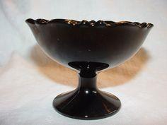 MT PLEASANT DOUBLE SHIELD BLACK AMETHYST GLASS PEDESTAL SHERBET DESSERT LE SMITH