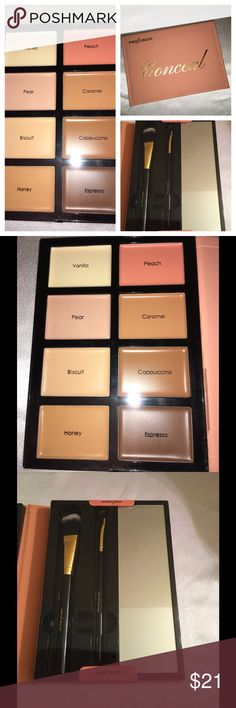 Profusion Conceal Cream Palette All skin tone Brand new Profusion 2 Palettes Conceal and Contour  DO NOT TROLL ON MY POSTING AS ITS NOT ALLOWED ON POSH IF YOU DECIDE TO I WILL REPORT YOU TO POSH N BLOCK YOU ⚜️Concealer 8 shades all skin tone Vanilla Peach Pear Carmel Biscuit Cappuccino Honey and Espresso cream formal applies on smooth   Great Palettes some compare it to KAT Von D Profusion Makeup Concealer