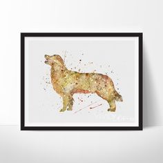 Golden Retriever Dog Watercolor Art. This art illustration is a composition of digital watercolor images and silhouettes in a minimalist style.