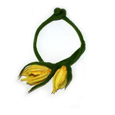 Felted Necklace Collar Yellow Flowers Spring merino by EsartFelt, $47.00