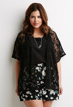 Floral Lace Cardigan | Forever 21 PLUS - 2000114747