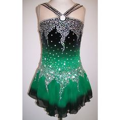 Ice Figure skating dress/Baton Twirling Leotard/Dance/Tap Costume Made... ❤ liked on Polyvore featuring costumes, green halloween costumes and green costumes