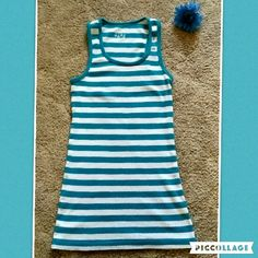 Striped tank top Comfy ribbed blue and white striped racer back tank top. Excellent condition. Hardly used at all. Wet Seal Tops Tank Tops