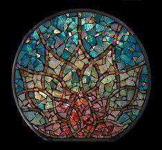 Glass Mosaic Window Art | Stained Glass Mosaic Mandala Lotus Rising by David Chidgey