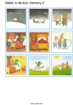 Kikker in de kou: memorie Preschool Lessons, Kindergarten Worksheets, Activities For Kids, Frog Theme Preschool, Pre School, School Supplies, Childrens Books, Literacy, Arts And Crafts