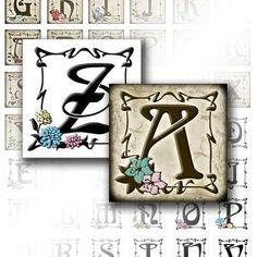 Digital collage sheet download art 1 in scrabble tile Vintage alphabet letter monogram necklace jewelry making paper