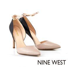 NINE WEST 點亮秋冬搶眼配色 雙色組搭繫帶高跟鞋-質感灰 - Yahoo!奇摩購物中心