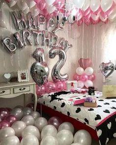 cuartos arreglados con globos de cumpleaños