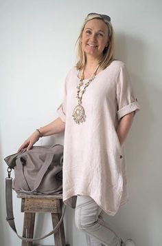 SUMMER SMILE Linen tunic, PINK - BOHEMIANA - BYPIAS