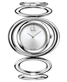 ck Calvin Klein Watch, Women's Swiss Graceful Stainless Steel Circle Link Bangle Bracelet 30mm K1P23120 - Women's Watches - Jewelry & Watches - Macy's
