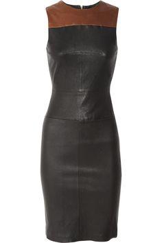 A.L.C.|Mika two-tone stretch-leather dress|NET-A-PORTER.COM