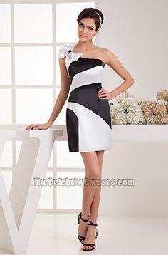 Chic White And Black One Shoulder Party Homecoming Dresses - TheCelebrityDresses