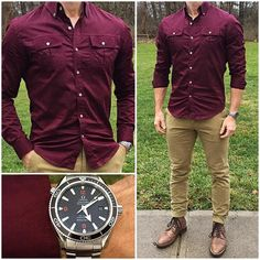 Today felt like it needed a blast of color, so I decided to wear this awesome burgundy shirt with some tan chinos and bo Formal Men Outfit, Casual Outfits, Men Casual, Maroon Shirt Outfit, Tan Chinos, Chinos Men Outfit, Look Man, La Mode Masculine, Men Dress