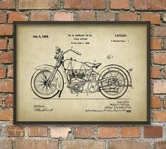 Harley Motorcycle Patent Wall Art Poster 3 - Vintage Aged Paper Style - Christmas Gift Idea For Him    This poster is printed using high quality