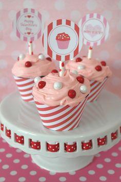 Koken en tafelen 48 Peppermint Candy CUPCAKE COLLARS Wrappers Christmas party cake table CUTE