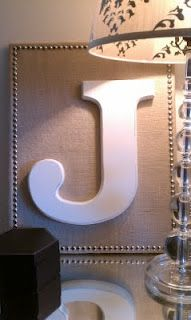 Nailhead Trim DIY Projects: Wooden letters on burlap get a bit of a glam treatment when highlighted by the addition of a nailhead trim border. Diy Wall Art, Diy Art, Wall Decor, Name Decorations, Cuadros Diy, Crafts To Make, Diy Crafts, Wooden Letters, Nailhead Trim