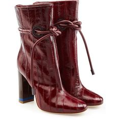 Malone Souliers X Roksanda Embossed Leather Ankle Boots (558,975 KRW) ❤ liked on Polyvore featuring shoes, boots, ankle booties, red, red leather boots, heeled ankle booties, red booties, red ankle boots and leather ankle booties