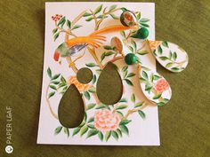 Paper Leaf |Porcelain Chinoiserie | handpainted paper earrings with carved howlite beads | Faux broken china