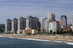 Crowds enjoy a sunny holiday at popular beach resort, Vina del Mar