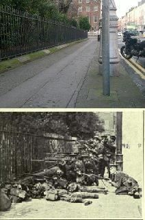 British troops looking into Merrion Square from the northern side of the Square. The house in the background sits on the corner of Merrion Square and Clare St. Ireland 1916, Dublin Ireland, Ireland Travel, Ireland Map, Then And Now Pictures, Old Pictures, Easter Rising, Old Irish, Ireland Homes