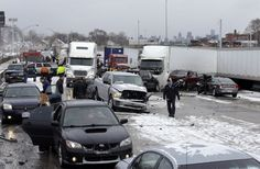 A section of multi-vehicle accident on Interstate 75 is shown in Detroit, Thursday, Jan. 31, 2013.