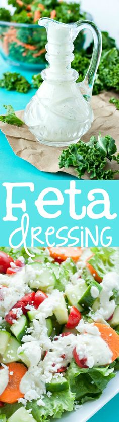 This Creamy Feta Dressing is ready to rock your veggies! Uber easy and ready in under 6 minutes, you'll want to slather this dressing on everything from salads to sandwiches! | Peas & Crayons