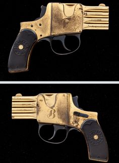 Rare and unusual German four shot reform bar pistol. A double action pistol, pulling the trigger fired the gun but also moved the barrels upward, centering a loaded chamber in front of the hammer. Made between 1906 and 1913.