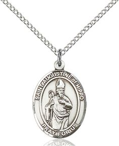 Rhodium Plated Brass Chain and Deluxe Gift Box Augustine with 20 in Sterling Silver St Printers /& Theologians