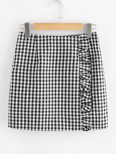 Casual Straight Gingham Mid Waist Black and White Above Knee/Short Length Zip Back Ruffle Trim Gingham Skirt - Young Casual Pencil Gingham Sheath Mid Waist Black and White Above Knee/Short Length Zip Back Ruffle Trim Gingham Skirt Source by madelynnroy - Skirt Outfits, Cute Outfits, Gingham Skirt, Girl Fashion, Fashion Outfits, Cute Skirts, Ruffle Trim, Diy Clothes, Mantel