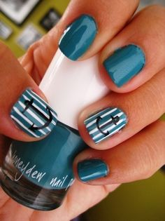 More nautical nails! I just finished painting these little anchors on my nails! Love Nails, How To Do Nails, Pretty Nails, Fun Nails, Teal Nails, White Nails, Nail Designs Tumblr, Cute Nail Designs, Do It Yourself Nails