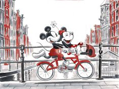 Mickey & Minnie Mouse Cycling in the Netherlands - Original Painting - Tony Fernandez - Originele kunst - W. Mickey & Minnie Mouse Cycling in the Netherlands - Original Painting - Tony Fernandez - Originele kunst - W. Mickey Minnie Mouse, Minnie Mouse Drawing, Mickey Mouse And Friends, Mickey Love, Mickey Mouse Wallpaper, Cute Disney Wallpaper, Minnie Mouse Pictures, Disney Pictures, Disney Sketches