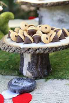 Chocolate acorn cookies (Hershey kisses, mini Nilla wafers, with a tiny bit of chocolate piped on top)
