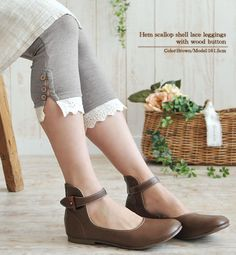 Rakuten: Hem scallop shell race seven minutes length leggings ●◎ 88 with Wood button- Shopping Japanese products from Japan
