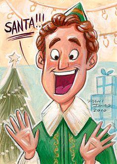 Buddy the Elf - Dani Jones Christmas Characters, Christmas Movies, Christmas Art, Xmas, Elf Drawings, Cartoon Drawings, Galaxy Drawings, Christmas Drawing, Christmas Paintings