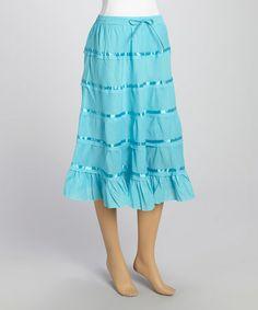 Look at this #zulilyfind! Turquoise Ribbon Ruffle Midi Skirt #zulilyfinds