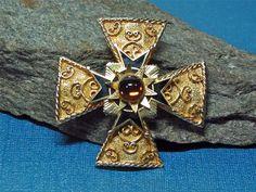Vintage ACCESSOCRAFT NYC Maltese Cross Brooch or Pendant Gold Tone Enamel Signed